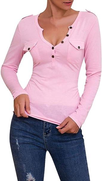 Luckycat BáSico Camisas Sudadera Mujer Manga Larga Camisas Mujer Manga Larga Flare Blusa Delgado Color Sólido Cuello en V Botones Tops Blusa: Amazon.es: Relojes