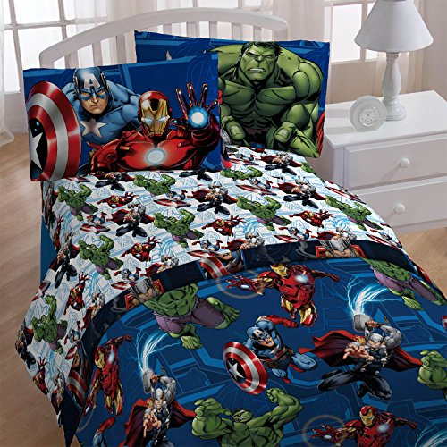 4pc Marvel Avengers Twin Bedding Set Heroic Age Comforter and Sheet Set (Captain America Bedding Twin compare prices)