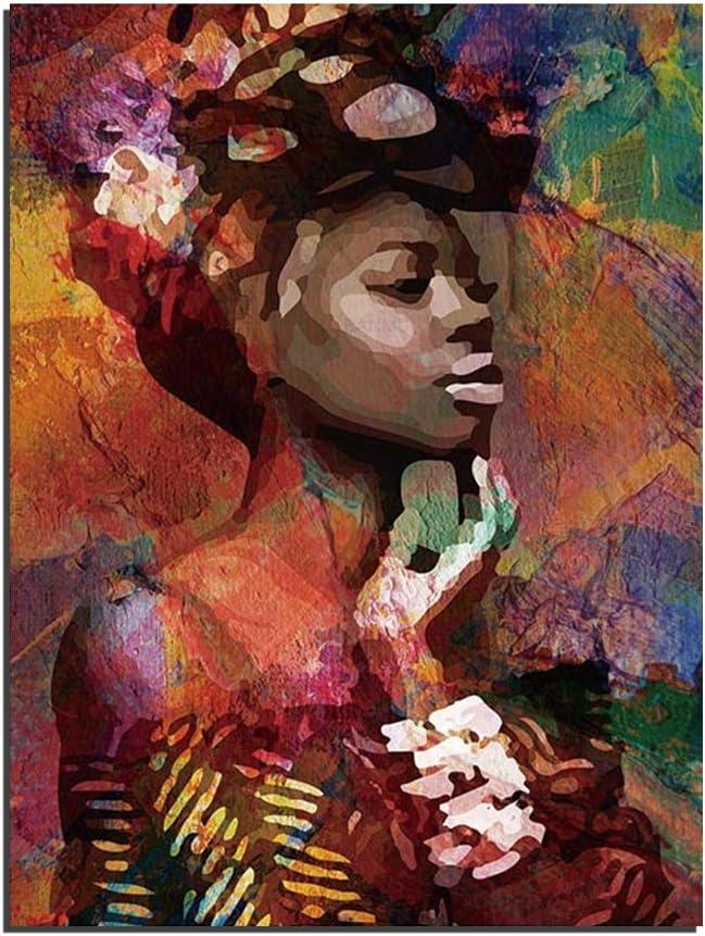 Graffiti Niña Africana Mujer Retrato Lienzo Arte De La Pared Impresiones Pintura Al óleo Acuarela Cuadro En Lienzo Obra Decoración Para El Dormitorio Sala De Estar (1 Size: 16X24inch(40X60cm))
