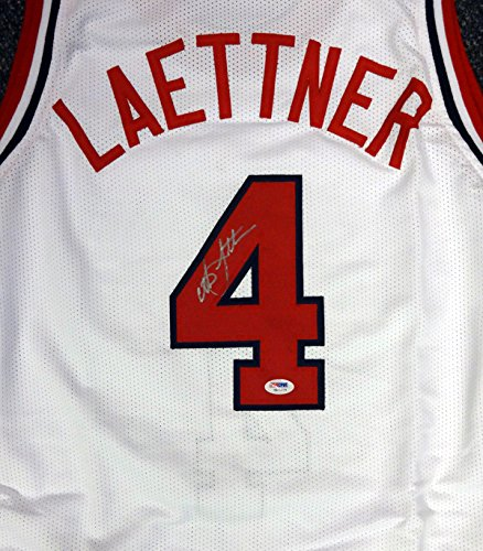 Team Autographed Jersey (Christian Laettner Autographed Team USA White Jersey PSA/DNA)