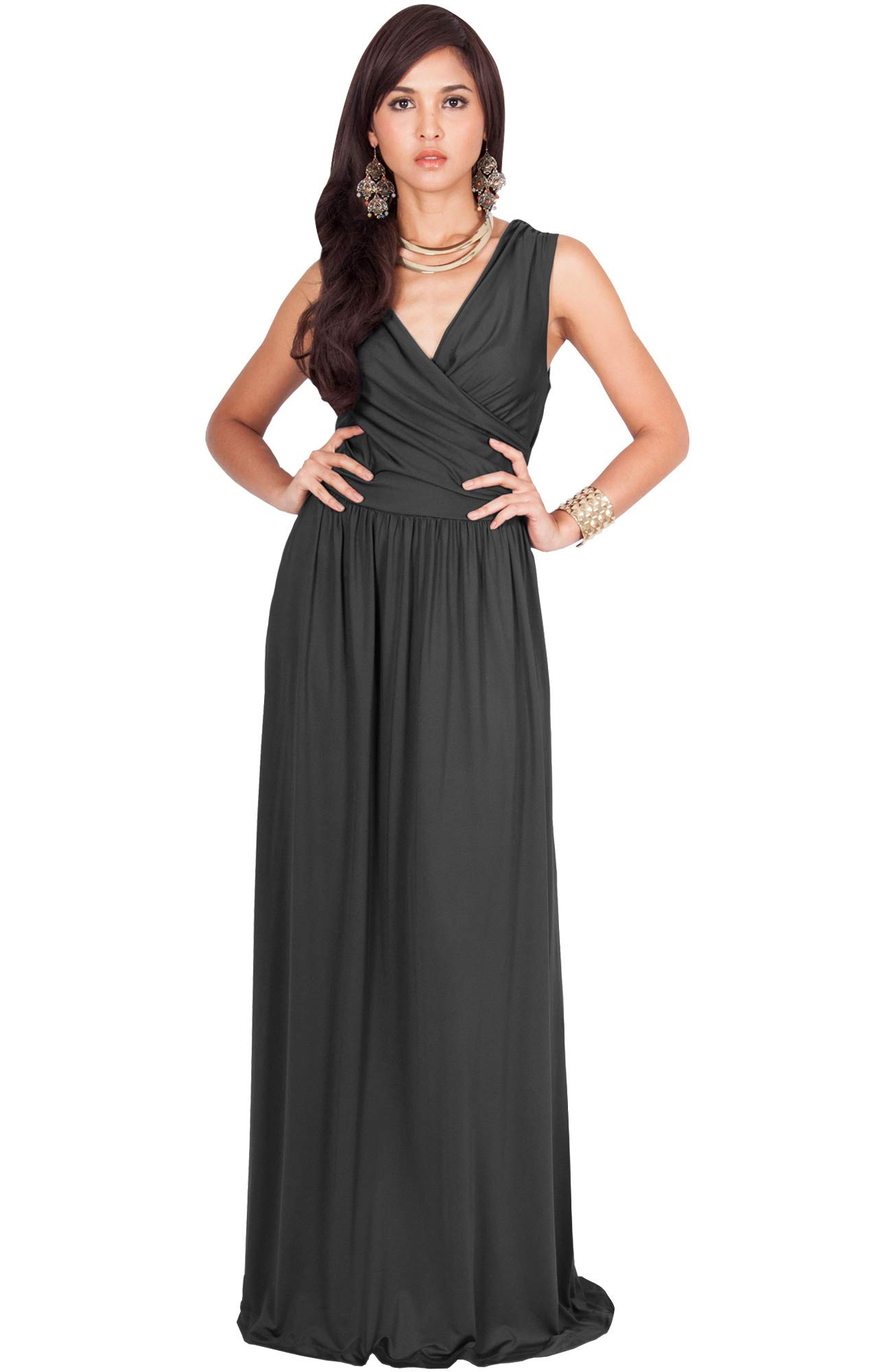 3f317356e7 KOH KOH Petite Womens Long Sleeveless Sexy Summer Semi Formal Bridesmaid  Wedding Guest Evening Sundress Sundresses Flowy Gown Gowns Maxi Dress  Dresses