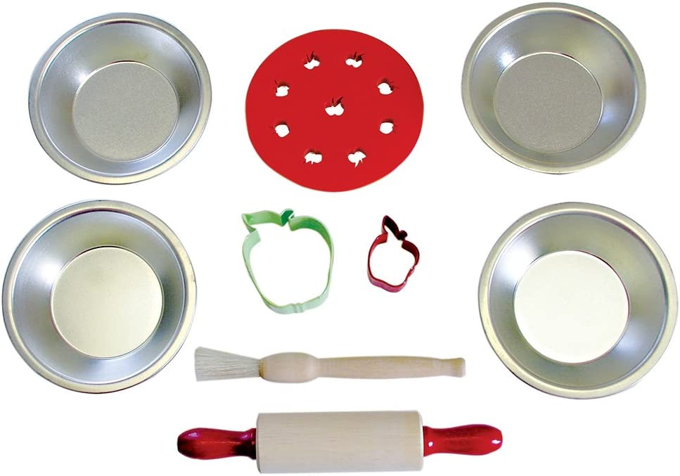 R&M International Individual Apple Pie Baking Set with 4 Pans, Rolling Pin, Brush, Topper, and 2 Cookie Cutters