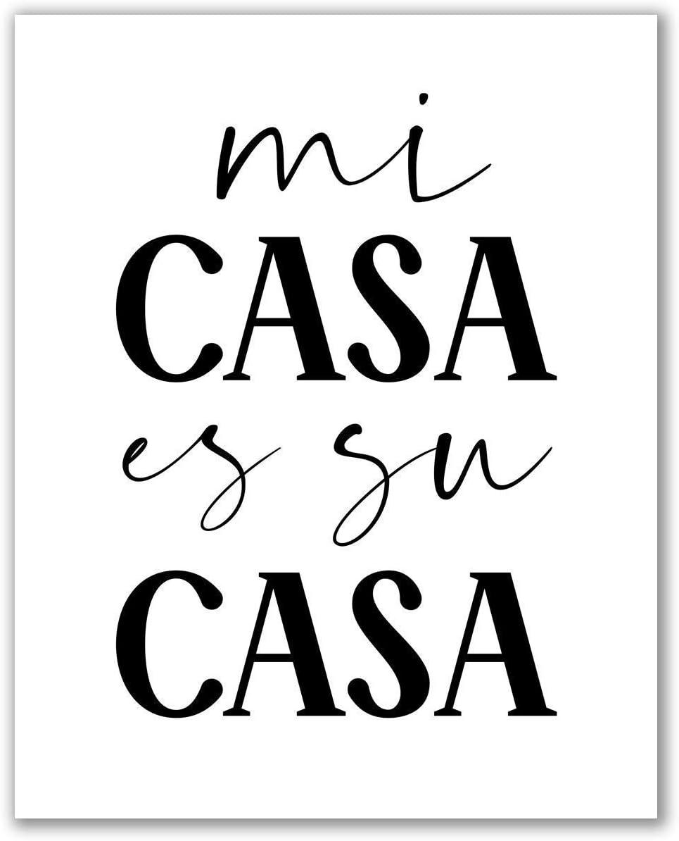 "Mi Casa ES Su Casa Print - Unframed, Modern Spanish Decor Poster, Spanish Home Sign, Typography Print, Home Sweet Home Sign, Modern Wall Art (Mi Casa ES Su, 8"" x 10"")"