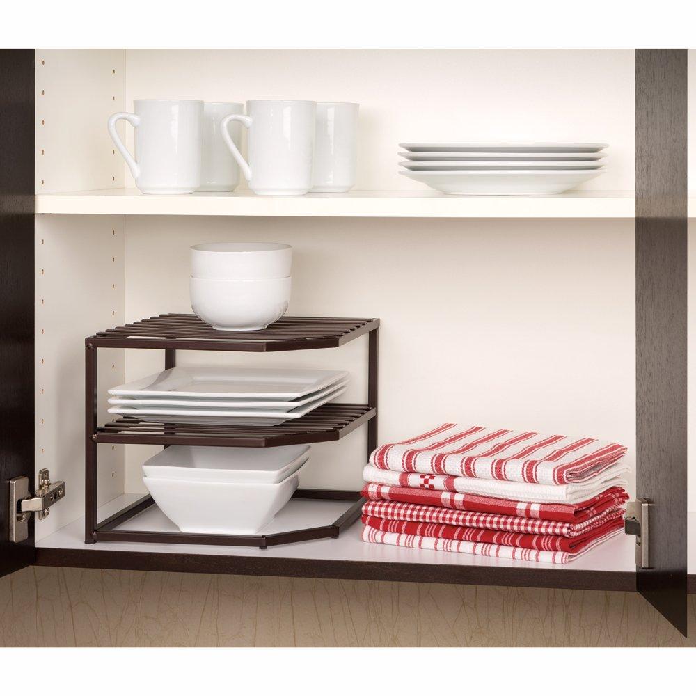 Seville Classics 2-Tier Corner Shelf Counter and Cabinet Organizer, Bronze by Seville Classics (Image #2)