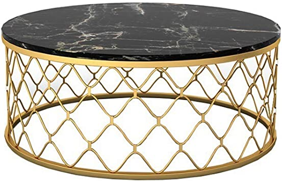 Amazon Com Round Marble Coffee Table Side Table Metal Base Couch Cocktail Table Living Room Leisure Snack Table Black Furniture Decor