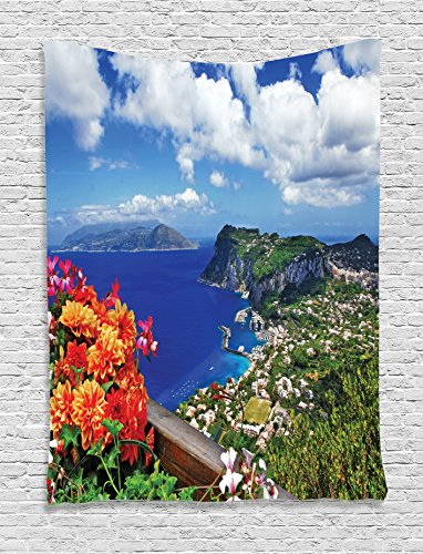 Ambesonne Collection Mountain Flowers Tapestry