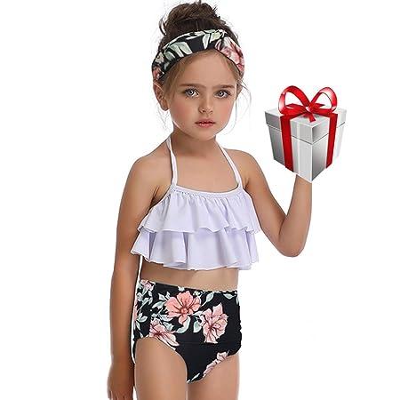 QIAODOUMADAI Bikini niña Traje baño 2 Piezas Trajes natación ...