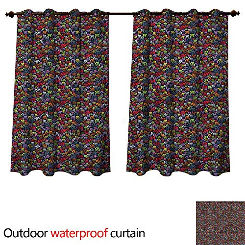 cobeDecor Skull Outdoor Ultraviolet Protective Curtains Crossbones Halloween Spooky W72 x L72(183cm x 183cm) -