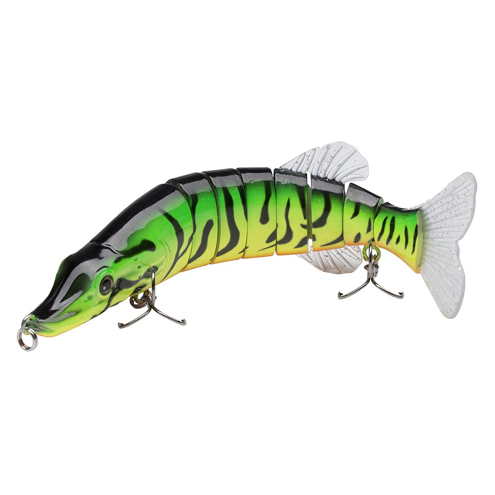 Bassdash Multi Jointed Swimbaits Bass Fishing Lure Hard Body Soft Fins 8'' 2-1/2oz, 4 Colors