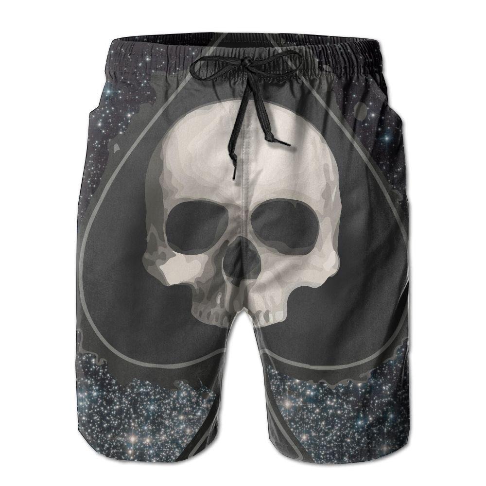 Men Skull Dark Black Heart Garden Flag Quick-Dry Lightweight Fashion Board Shorts Swim Trunks XL by COOA