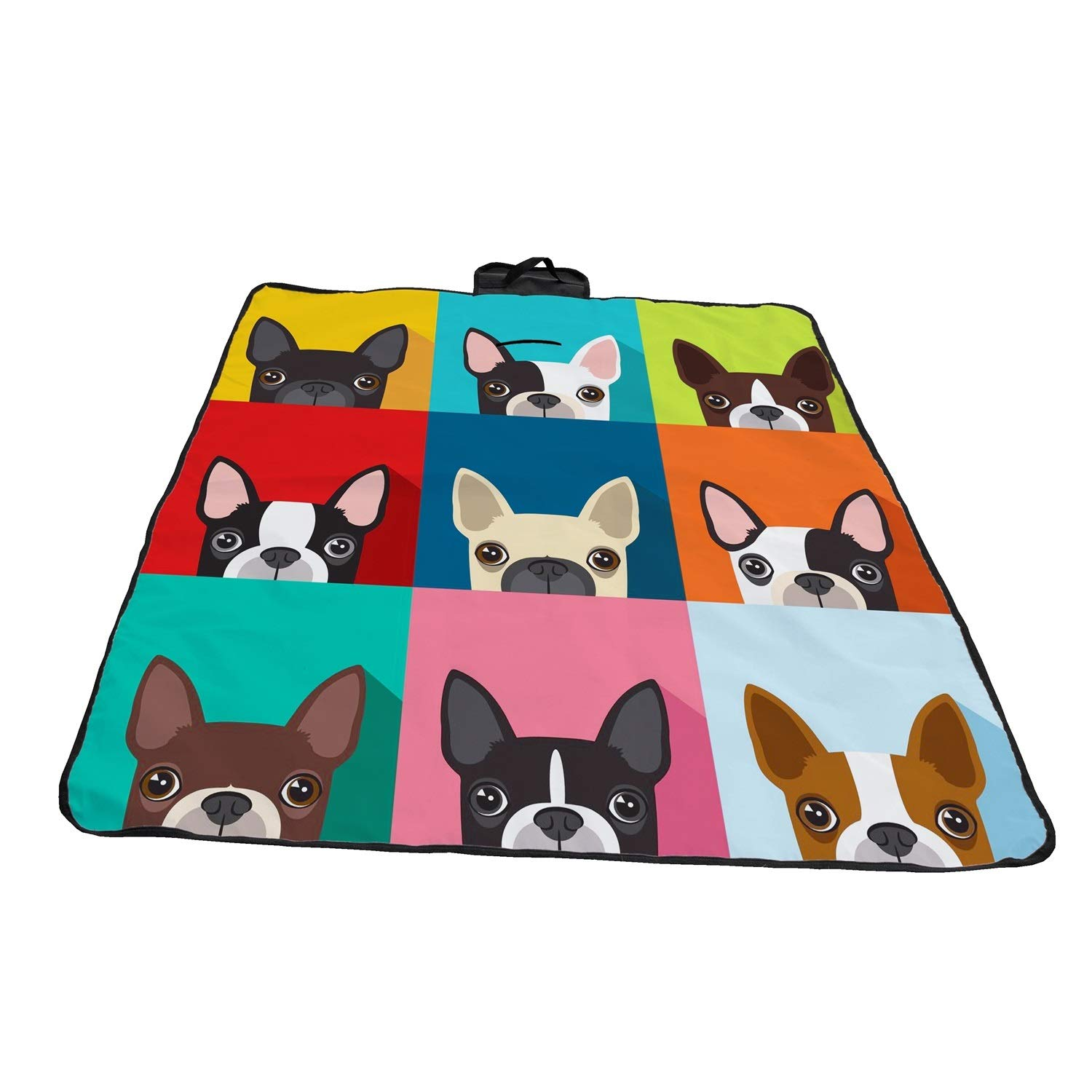 A&S Creavention Waterproof Outdoor Picnic Beach Blanket Mat Lightweight Portable Handcarry Tote Easy to fold 72'' x 58'' (Bull Dog) by A&S Creavention