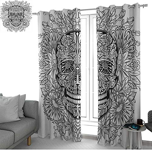 NUOMANAN Window Curtain Fabric Skull,Gothic Smiling Skeleton Head with Flowers Day of The Dead Mexican Traditional Print,Black White,Rod Pocket Curtain Panels for Bedroom & Living Room 52