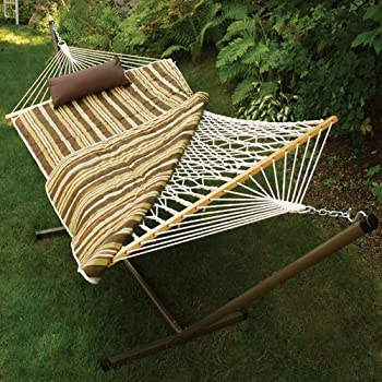 cotton rope hammock metal stand set amazon     algoma 11 ft  cotton rope hammock metal stand set      rh   amazon