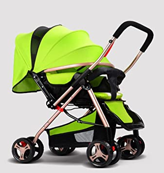 JIAAE Cochecitos de bebé de dos vías cochecitos de aluminio ligero plegable portátil de cuatro ruedas cochecitos para 0-36 meses, green: Amazon.es: Deportes ...