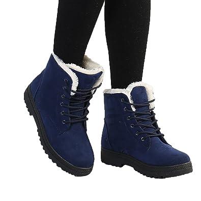 Women's Durable Platform Flat Fully Fur Lined Warm Winter Short Snow Boots