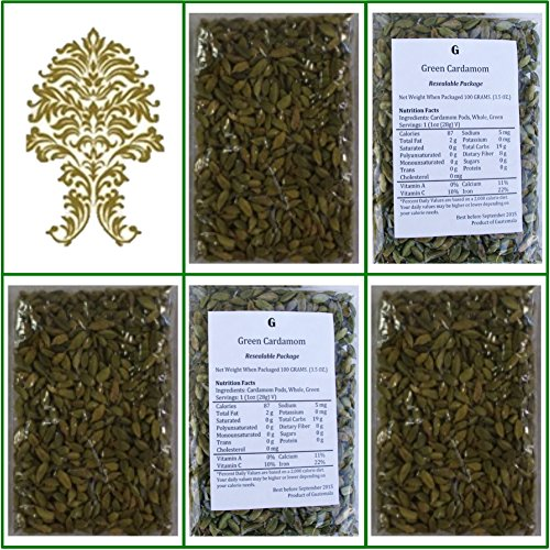 Natural Green Whole Cardamom Pods (elaichi, elachi, hal) - 17.6 Oz, 500g. by GaneshaSpice