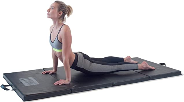 """Ultimate Body Press Exercise and Yoga Mat - 6'4"""" x 3' x 2"""" - Four Panel Folding Mat with Premium Materials and Foam - Sized Right for Your Fitness"""