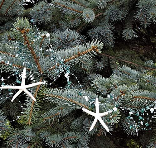 Beach Decor Nautical Beaded Starfish Garland - White Starfish Decorative Garland - 5FT TEAL