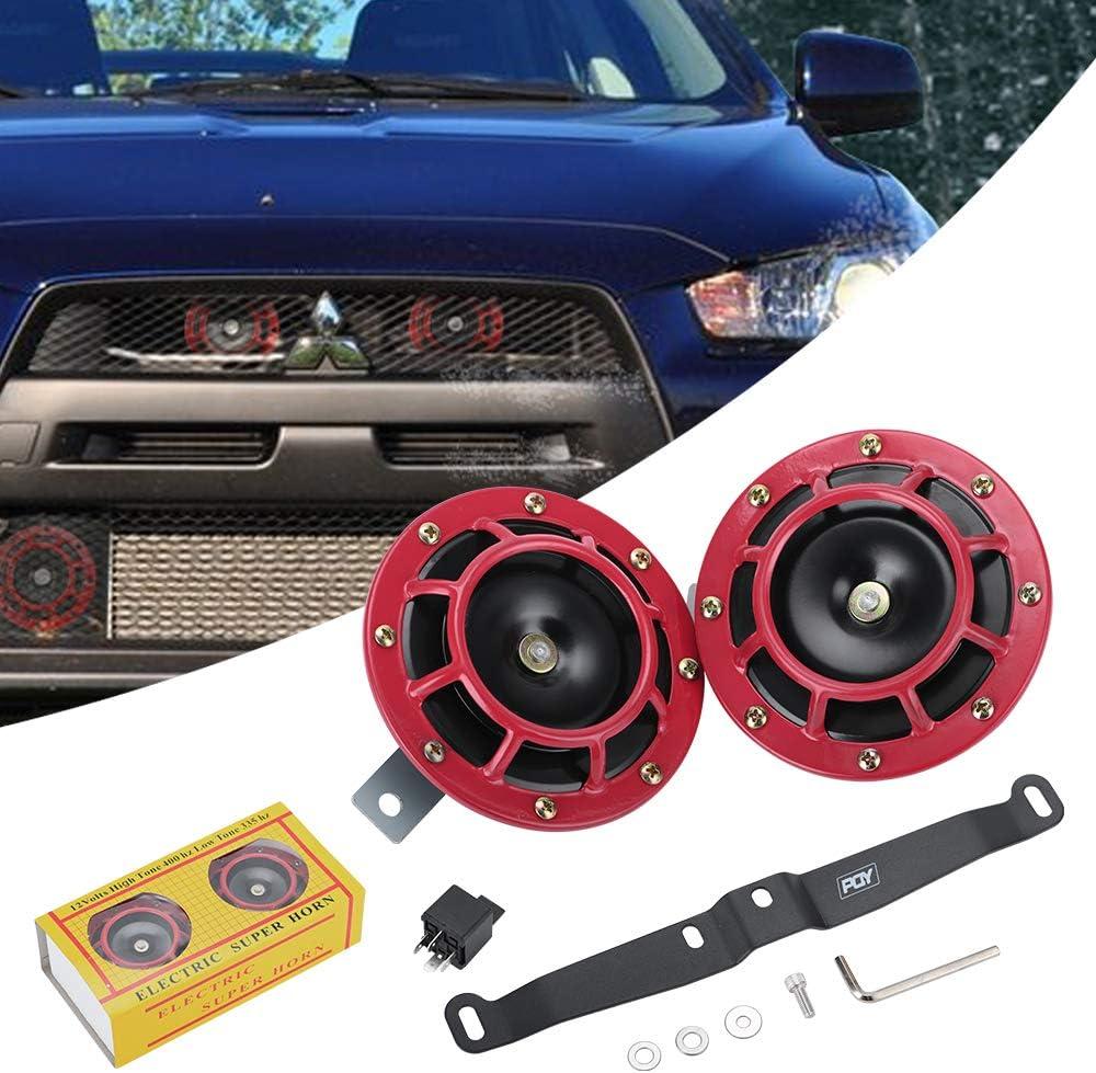 PQY 12v 115DB Hella Super Loud Compact Electric Blast Tone Air Horn Kit with Bracket Compatible for 02-07 Subaru Impreza//WRX//STi