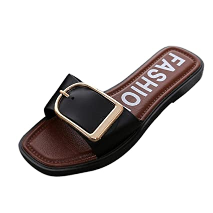 557d9314aa55b Fheaven Women Summer Flat Slipper Square Buckle Sandals Thong Slipper  Casual Shoes (Black