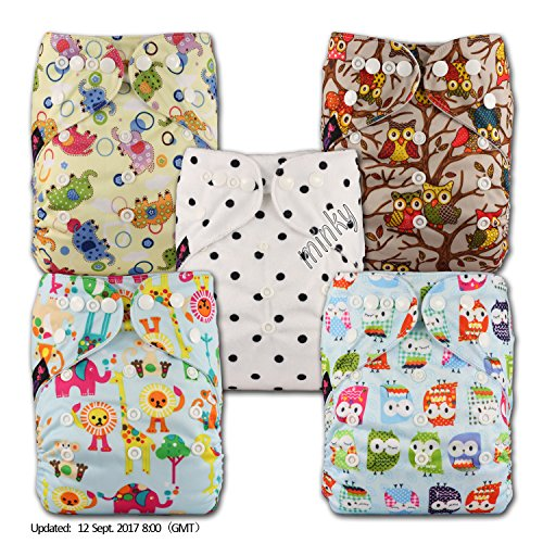 Fastener: Hook-Loop Patterns 510 with 5 Microfibre Inserts Set of 5 Reusable Pocket Cloth Nappy Littles /& Bloomz