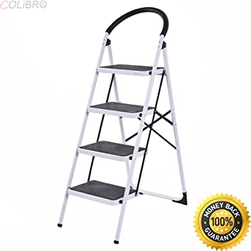 Stupendous Colibrox 4 Step Ladder Folding Stool Heavy Duty 330Lbs Machost Co Dining Chair Design Ideas Machostcouk