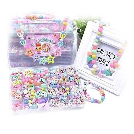 Nicedeal 1 caja (500pcs) Cuentas de bricolaje coloridas Diferentes tipos y formas multi-