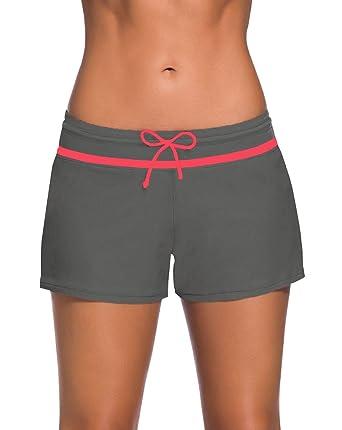Shorts de bain femme - boxer de tankini shorty - Bas de maillots avec  cordon Gris 21afaee59c0