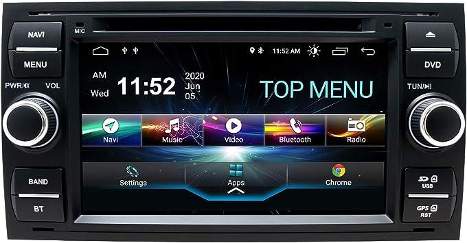 Swtnvin Android 10 0 Autoradio Headunit Passend Für Ford Focus Fusion Transit Fiesta Galaxy Dvd Player Radio 7 Zoll Hd Touchscreen Gps Navigation Mit Bluetooth Wifi Swc Dsp 2 Gb 80 Gb Schwarz06 Navigation