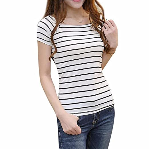 1c5aa8ae99c05 Women Short Sleeve HGWXX7 2018 Summer Simple Striped Slim Round Neck Short  Sleeve T-Shirt Blouse Tops at Amazon Women s Clothing store