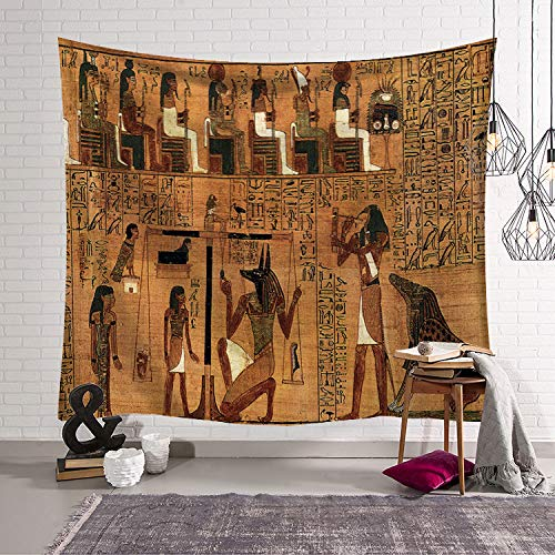 QCWN Egyptian Tapestry Wall Hanging Egyptian Ancient Religion Historical Tapestry Backdrop Cloth Egypt Egyptian Character for Home Dorm Living Room Decor. Multi 78x59Inc -