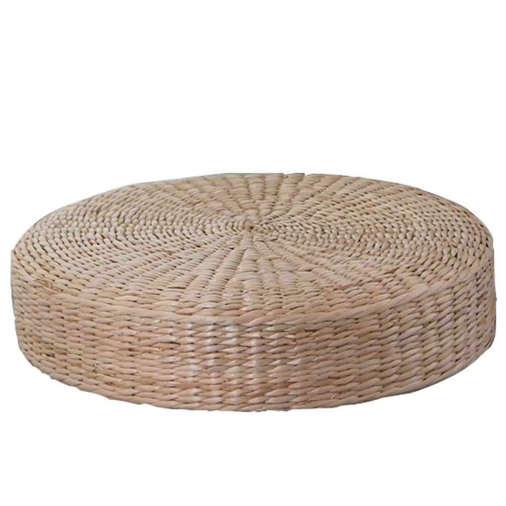 Japanese Tatami Floor Pillow Zafu Natural Seat, Meditation Pillow, Handcrafted Eco-friendly Breathable Pad Knitted Straw Flat Seat Cushion/Straw Futon Cushion for Zen,Yoga,Meditation - round,H: 6cm