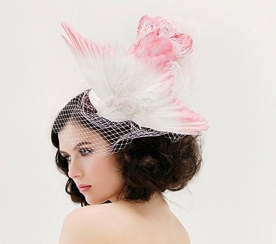7f83ad83b46ee Amazon.com  Unique Wedding Veil - Feather Fascinator - Taxidermy ...