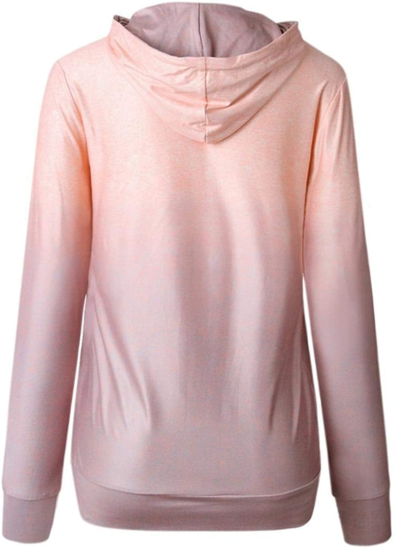 Langle Women Autumn Casual Sweatshirt Print Long Sleeve Hooded Drawstring Pullover Fashion Hoodies
