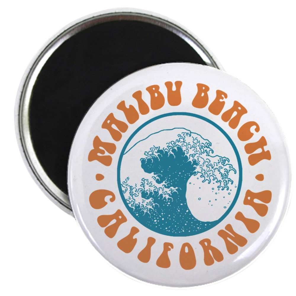 "CafePress - Malibu Beach California Magnet - 2.25"" Round Magnet, Refrigerator Magnet, Button Magnet Style"