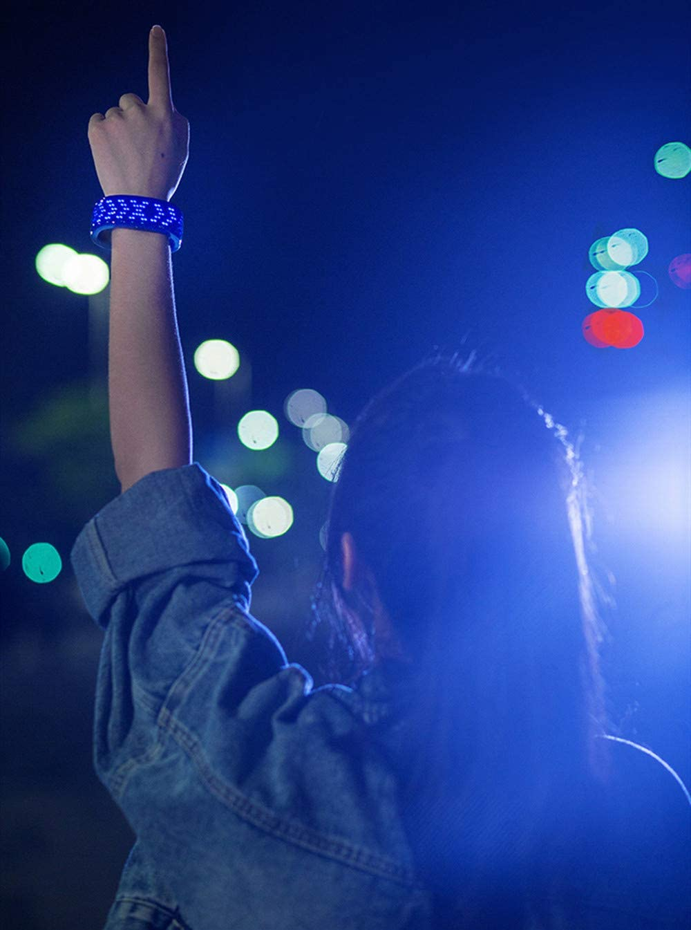 Glow Wristbands AINSKO LED Customizable Bluetooth Glowing Bracelet Light Up Glowing Slap Bracelet Night Safety Wristband Reflective Gear LED Bluetooth APP Control Slap Bracelet