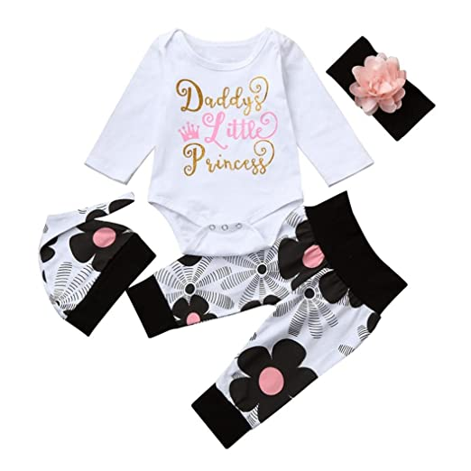 324e730a5 iumei Baby Girls Daddy's Little Princess Bodysuits Pants Hat Headband 4pcs  Outfits Set (White,