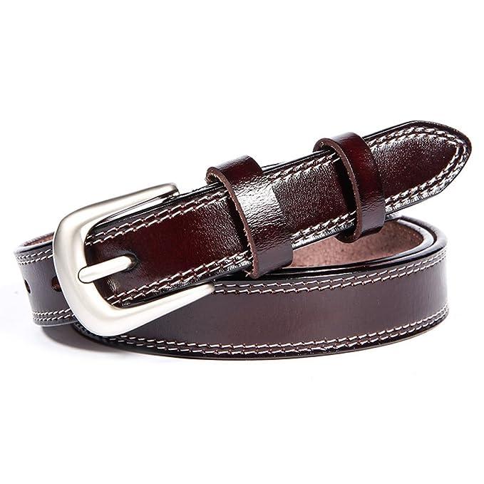 GAXmi Cinturón de Cuero para Mujer Señoras Cinturones Estrechos para Jeans    Vestido con Hebilla de 9711fc9838b5