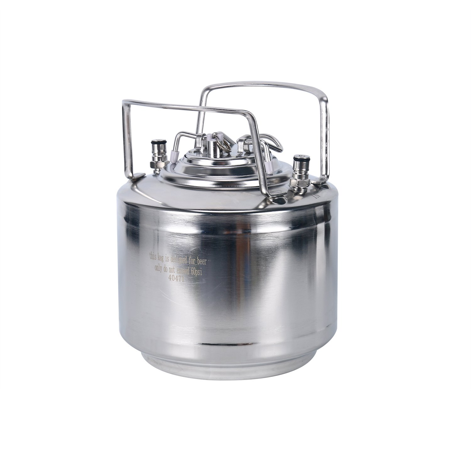 YaeBrew Stainless Steel 1.6 Gallon Mini Ball Lock Keg System For Small Batch HomeBrewing Beer Brewing Strap Handle (6L)