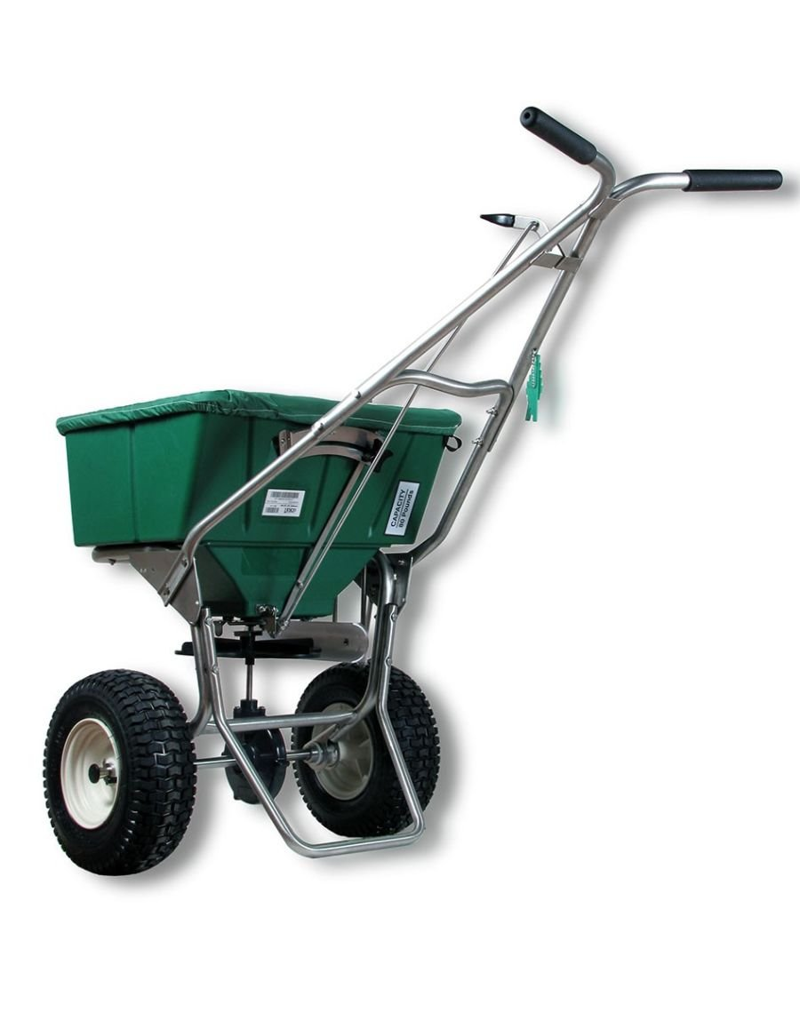 Bundle - 2 Items: Lesco 101186 High Wheel Walk-Behind Fertilizer Spreader w/ Lesco Spreader Caddy