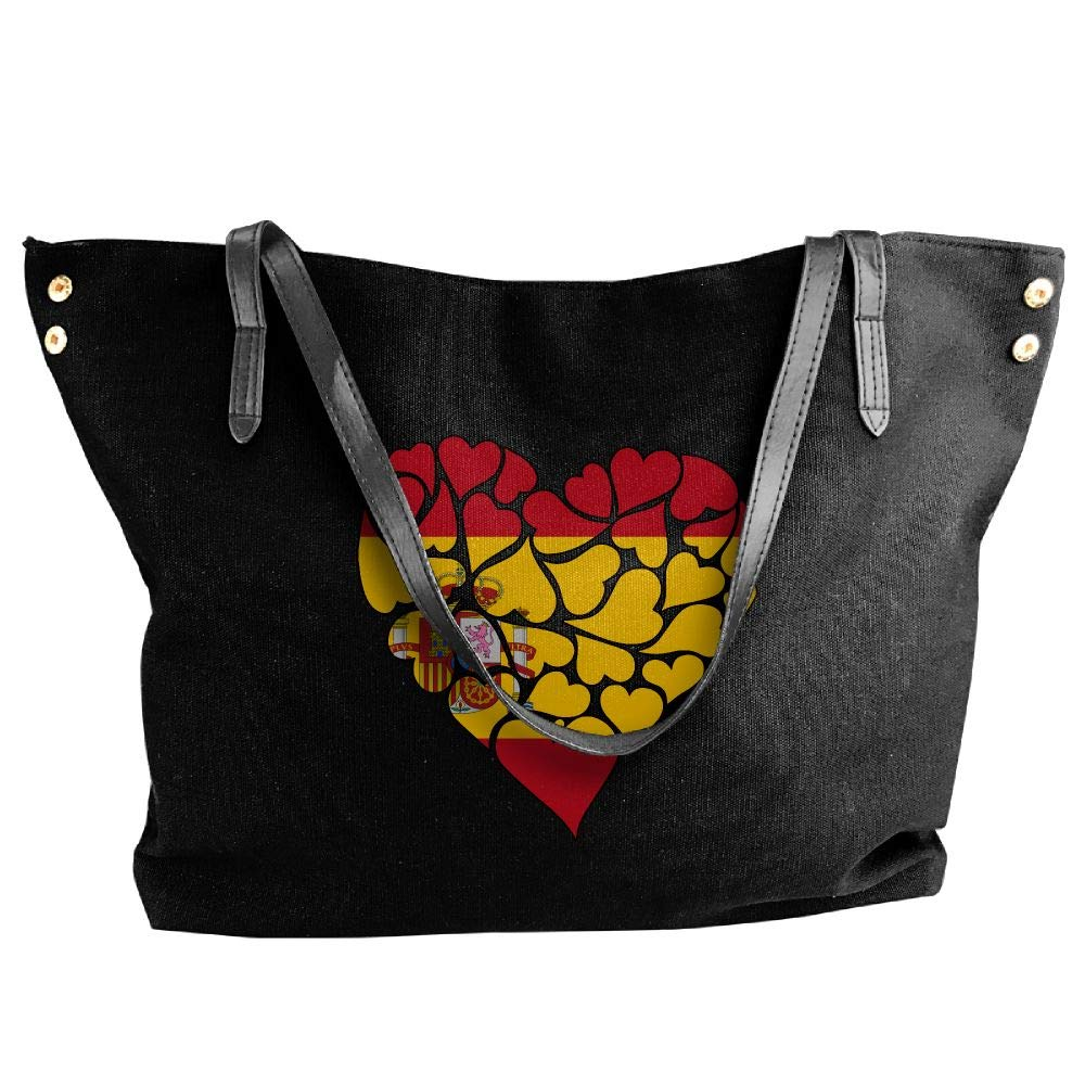 Women's Canvas Large Tote Shoulder Handbag Spain Flag Heart Love Hobo Handbag Bag Tote
