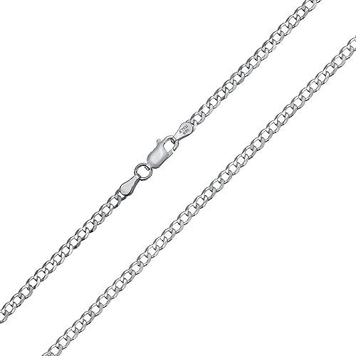 """Plata Esterlina 925 16 18 20 22 24 26 28 30 /""""pulgadas de 2.5 mm frenar enlace Collar de cadena"""