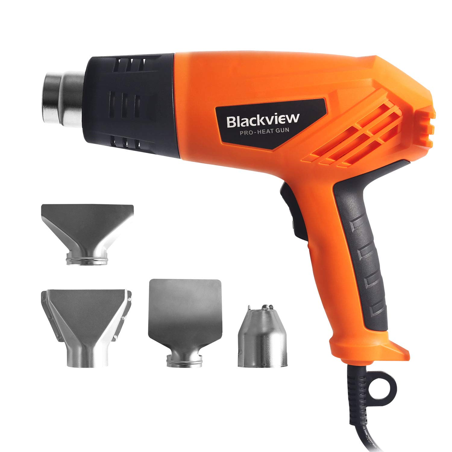 Blackview Heat Gun 1500W Heavy Duty Hot Air Gun with 2-Temp Settings 4 Nozzles 662℉~1022℉(350℃- 550℃)with Overload Protection for Crafts, Shrinking PVC, Stripping Paint, Bending Pipes, Lighting BBQ