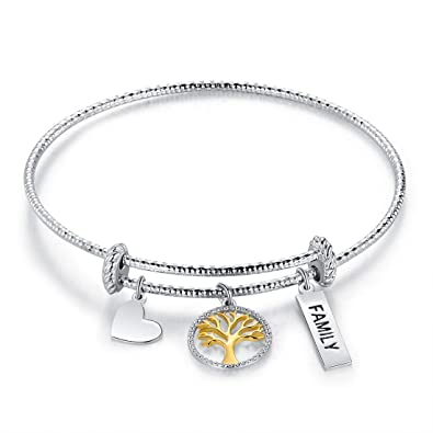 1ce2443678d3 Image Unavailable. Image not available for. Color  OPALTOP Family Tree  Heart Charms Bangle Bracelets Expandable Gifts for Mother ...