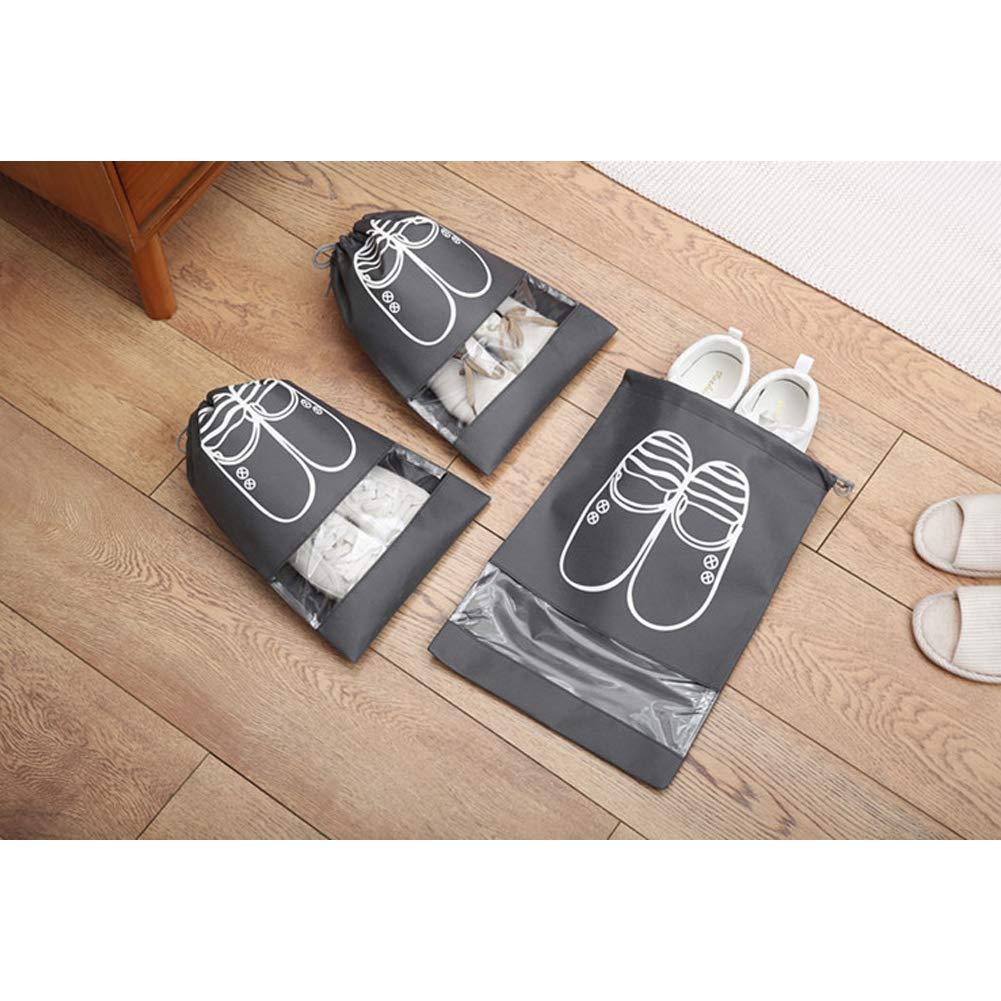 ETbotu Shoe Bags Portable Large Capacity Waterproof Drawstring Shoes Bag for Travel Storage Navy Medium