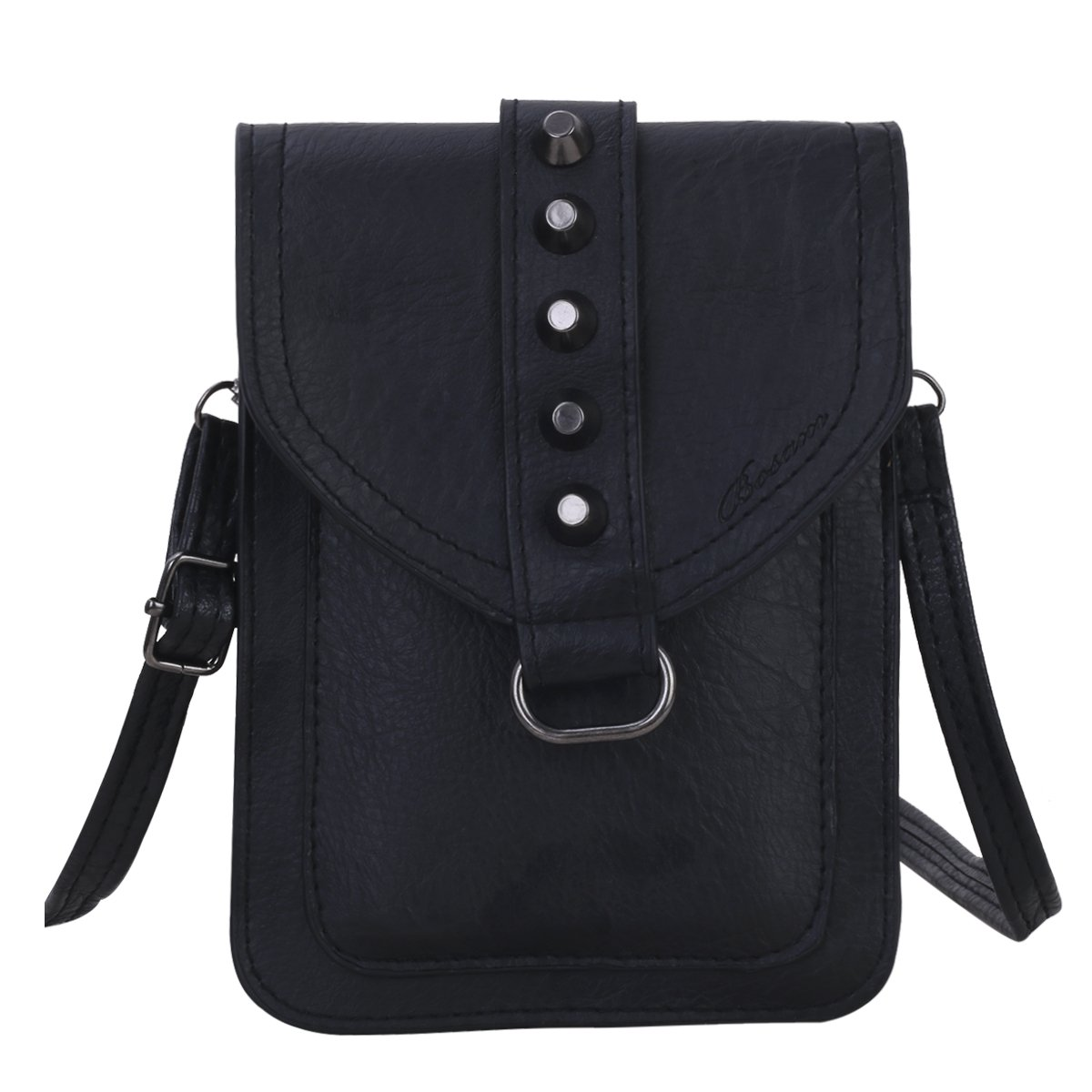 Bosam Roomy Crossbody woman Purse For Cellphone Iphone X 8 7 6 6s plus samsung galaxy smartphones with shoulder Strap(Black)