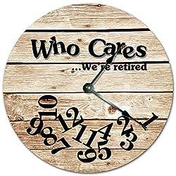 Sugar Vine Art 10.5 WHO CARES WE'RE RETIRED FUNNY CLOCK - FARMHOUSE WOOD FLOOR CLOCK- Large 10.5 Wall Clock - Home Decor Clock