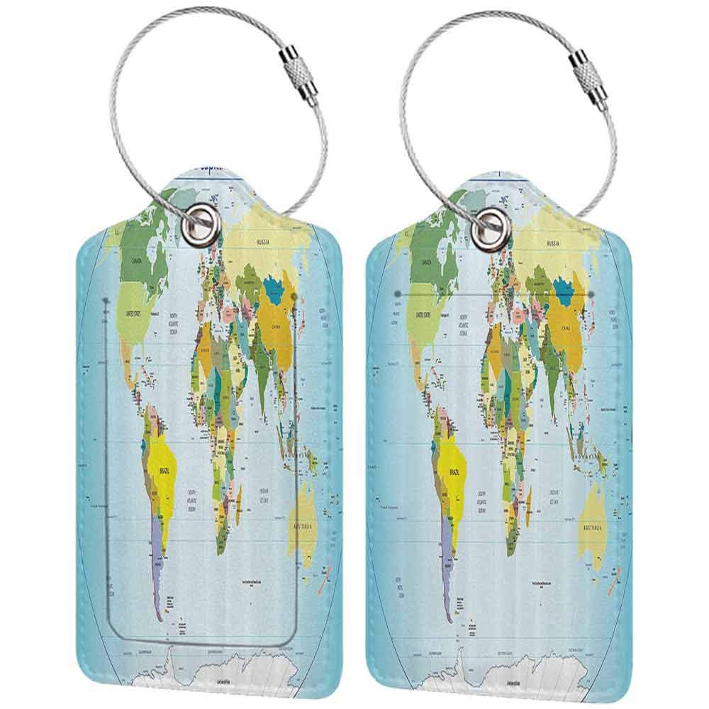 Decorative luggage tag Wanderlust Decor Collection World Map with Countries and Capital Cities of the Earth with Oceans and Lakes Graphic Art Suitable for travel Multi W2.7 x L4.6