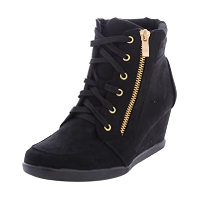 Forever - Women's Gold Side Zipper Wedge Sneakers - Black   Boots