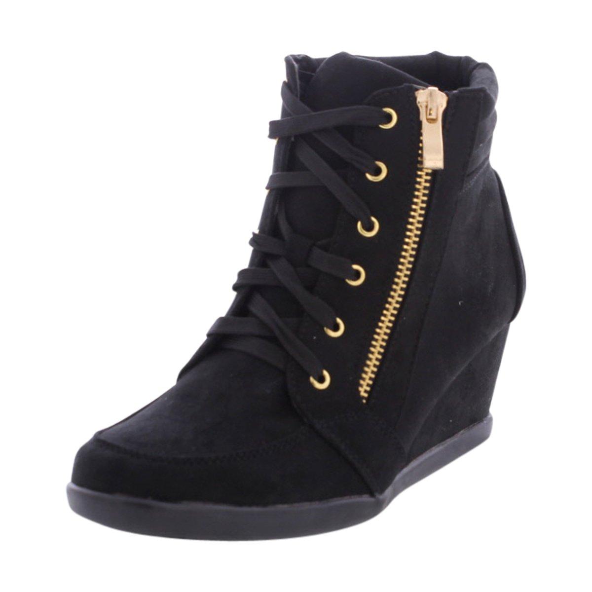 Forever - Women's Gold Side Zipper Wedge Sneakers - Black B01M7OXJTX 8 M US|Black